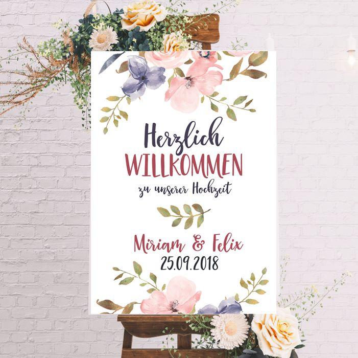 """Schild für die Hochzeit """"Herzlich Willkommen"""" Blumen"""