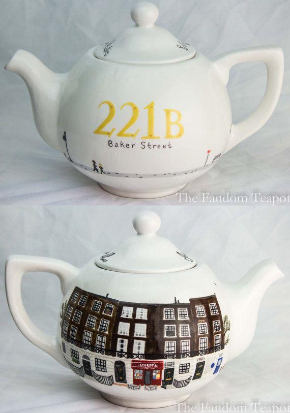 Sherlock Teapot by TheFandomTeapot on Etsy, $115.00