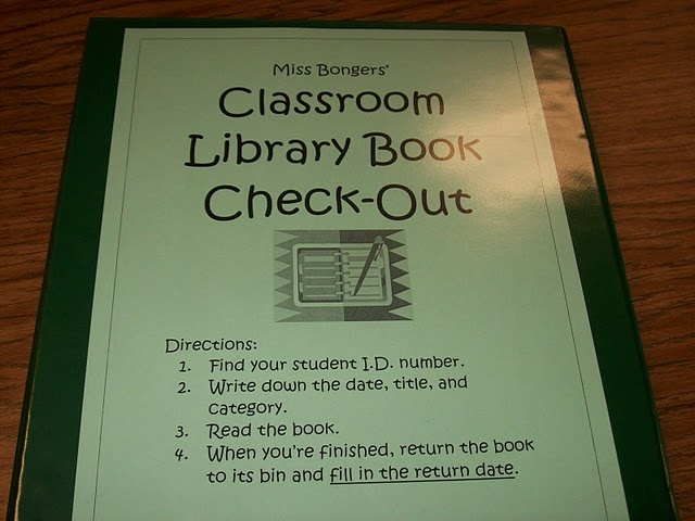 "classroom library checkout binder... except return to ""return bin"" instead of spot in library"