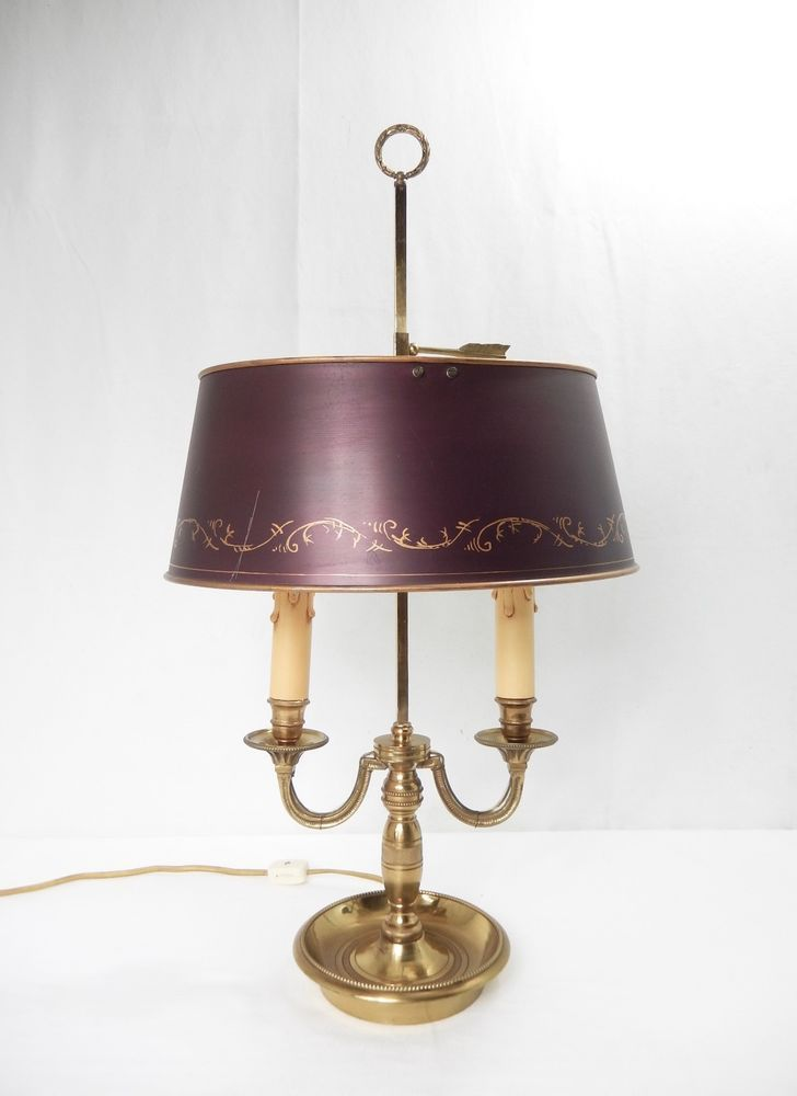 Vintage 2 Arm Brass Bouillotte Desk Table Lamp W Painted Shade