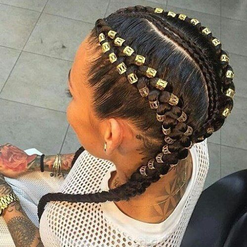 Two Braids With Numerous Gold Beads Long Hair Styles