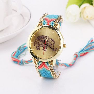 Women Girls Knitted Rope Elephant Bracelet Chain Wrist Watch at Banggood