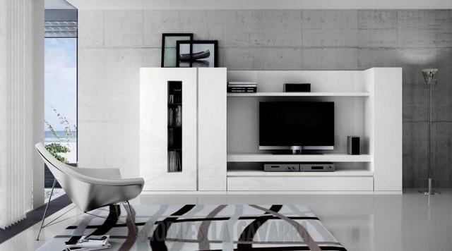 Ciurans programa area modular compacto en blanco for Mueble compacto tv