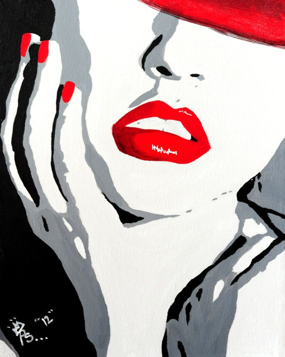 Pop art red lips painting original acrylic on canvas