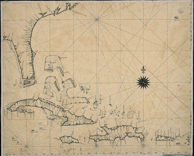 Carta náutica de las costas de Florida, islas Bahamas y las Antillas, s. XVIII by Biblioteca Nacional de España on Flickr.