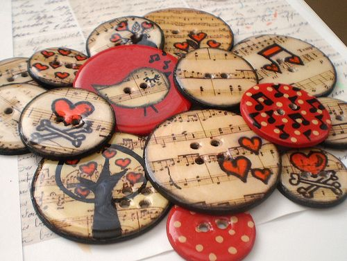 15 Round Chipboard Epoxy Button Embellishments with Journaling Tag and Coordinating Floss-Vintage Musical Birdie Set | Flickr - Photo Sharin...