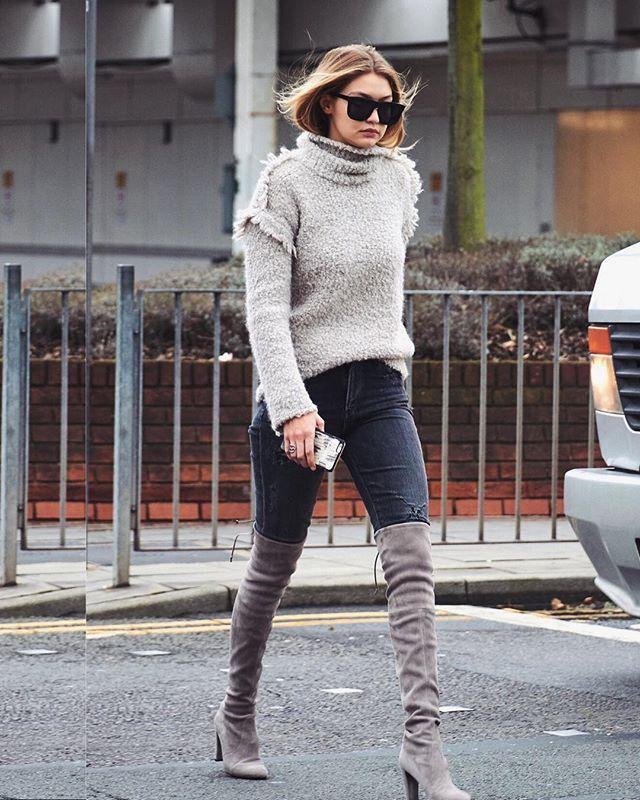 Cuissardes suédine grises ☑️ #Gigi Similaire ici Ref 6155-1 | www.outfitbook.fr