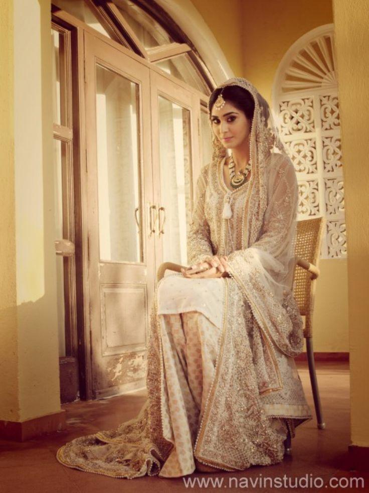 Cream Muslim Bridal Dress By Elan