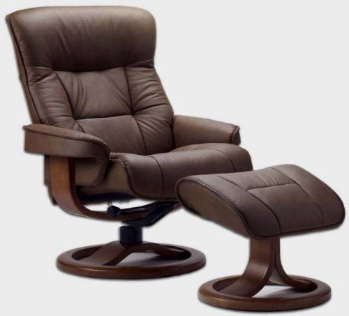 Fjords 775 Bergen Large Leather Recliner Norwegian Ergonomic Scandinavian Lounge Reclining Chair Furniture Nordic Line Genuine Havana Dark Brown Leather Espresso Wood -- Check out this great product.