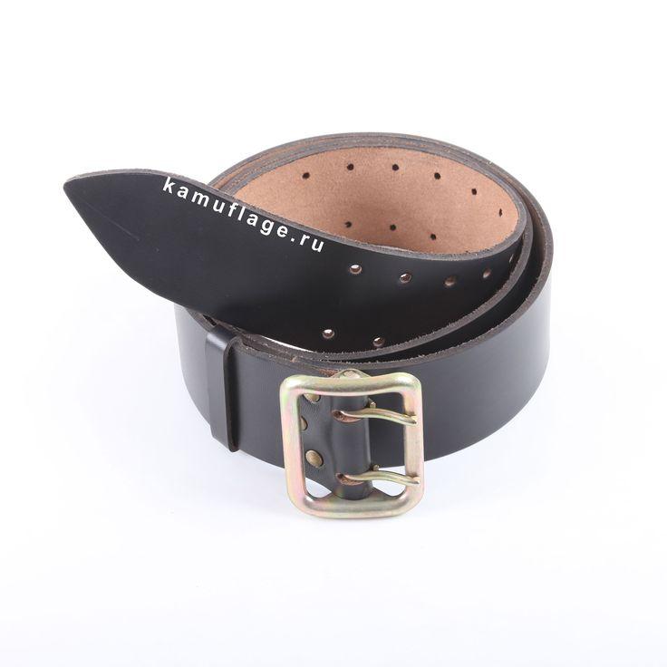 Ремень кожаный для офицеров черный «Камуфляж ру»