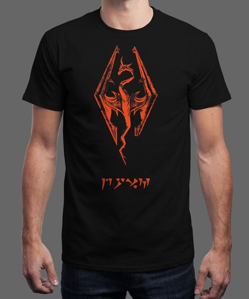 """Dovah Smaug"" is today's £8/€10/$12 tee for 24 hours only on www.Qwertee.com Pin this for a chance to win a FREE TEE this weekend. Follow us on pinterest.com/qwertee for a second! Thanks:)"