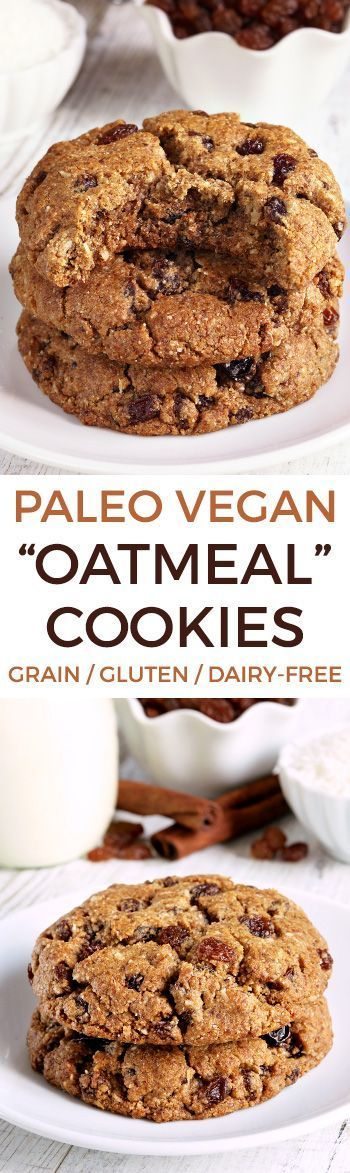 """These paleo """"oatmeal"""" cookies (also known as n'oatmeal cookies) are crisp with a chewy center and taste just like classic oatmeal raisin cookies! Recipe has a vegan option."""