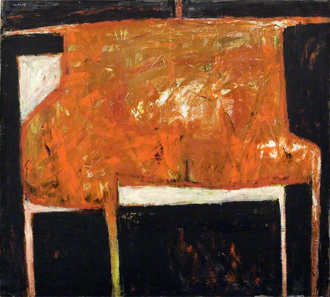 William Scott, Figure: Red and Black, 1954, Oil on canvas, 89 × 99 cm / 35 × 39 in, Private collection