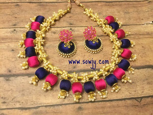Handmade Silk Thread Choker Necklace In Blue and Pink with Silk ...