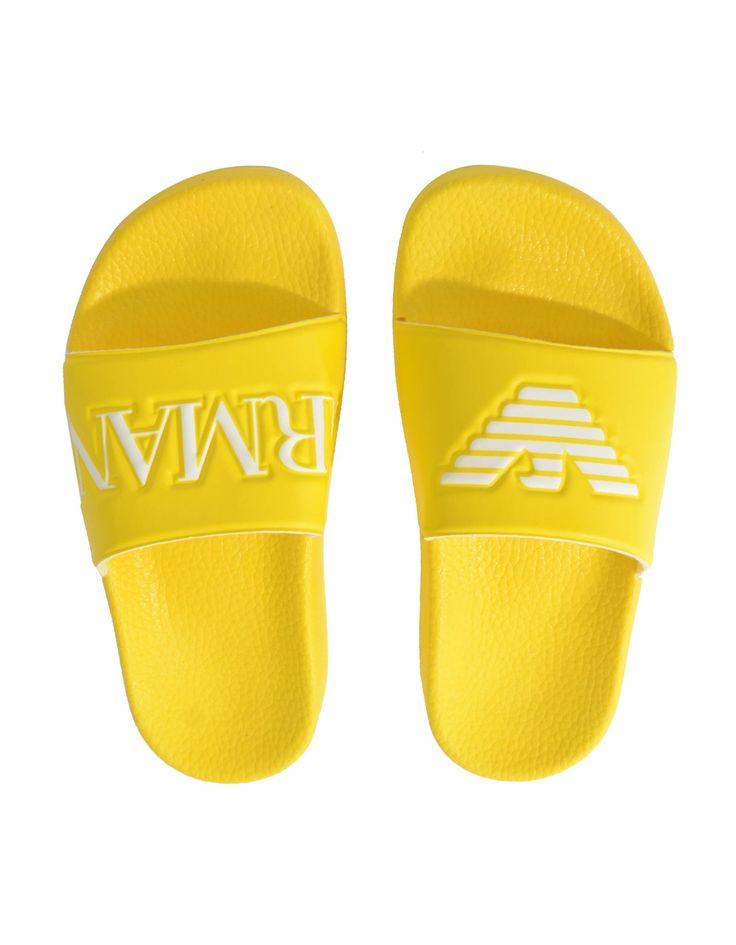 Armani Yellow Eagle Logo Slider Sandals | Accent Clothing