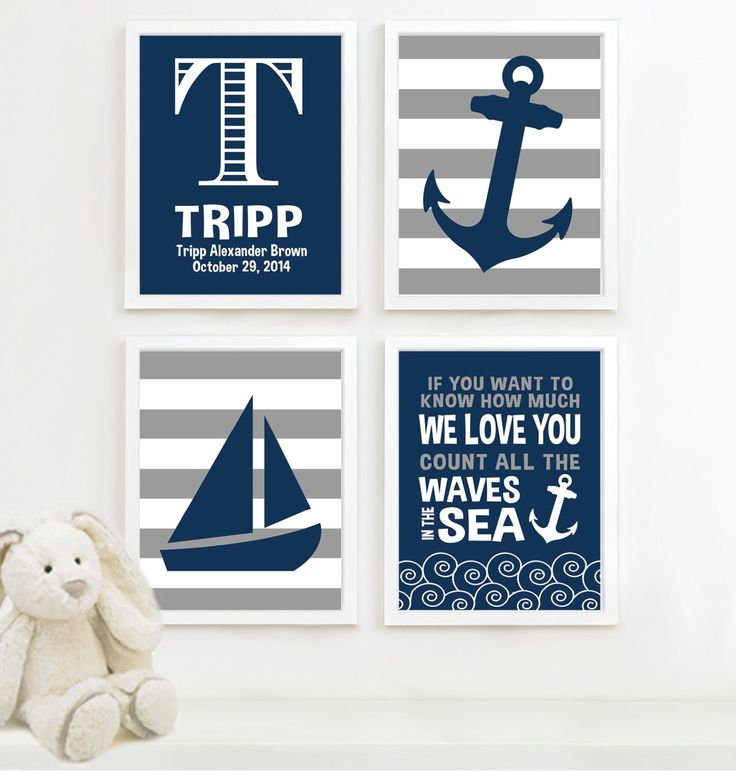 Baby Boy Nursery Art - Nautical Nursery Decor - Nautical Nursery Print -Nautical Nursery Art -Navy White Gray - You Pick the Size (NS-513) by RhondavousDesigns2 on Etsy https://www.etsy.com/listing/189826126/baby-boy-nursery-art-nautical-nursery