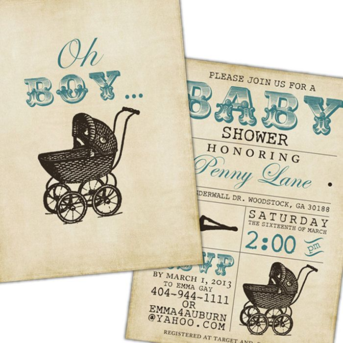 Lovely Vintage Stroller Baby Boy Shower Invite   Blue, Brown, Tan, Rustic, Grungy