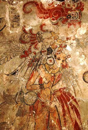 At San Bartolo, murals dating from 100 BC relate to the myth of the Maya maize god and the hero twin Hunahpu, and depict an inthronization; antedating the Classic Period by several centuries, the style is already fully developed, with colors being subtle and muted as compared to those of Bonampak.