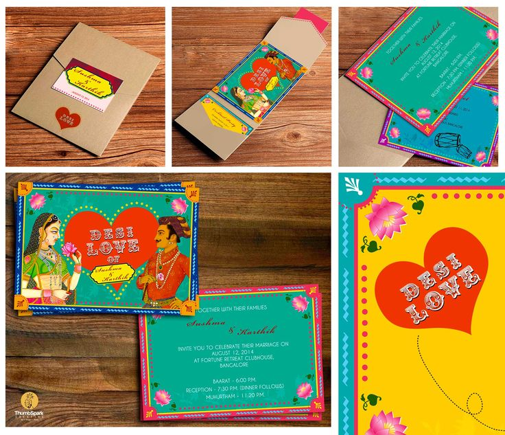 Quirky indian wedding card
