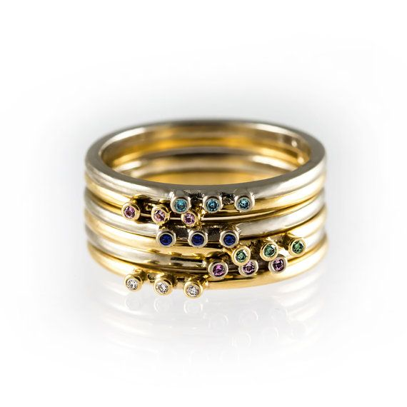 Colorful stackable rings delicate rings mix and by KorusDesign