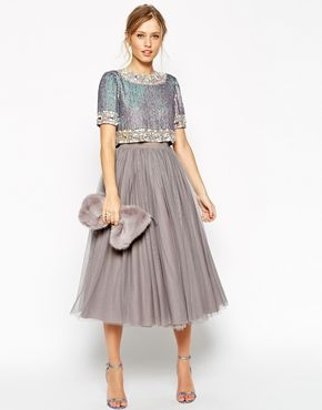 Enlarge ASOS SALON Premium Crystal Crop Top Netted Midi Dress