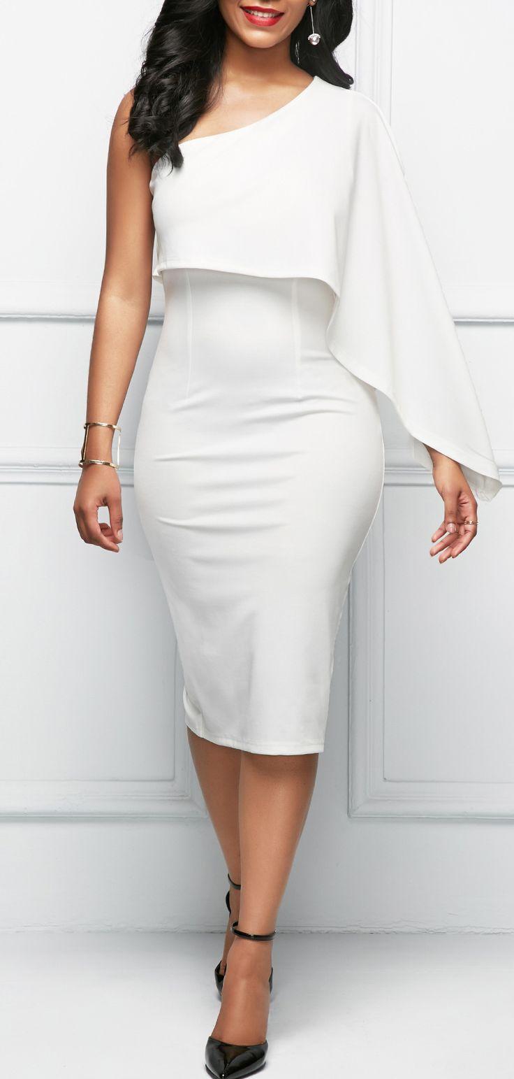 One Shoulder Back Slit White Sheath Dress.
