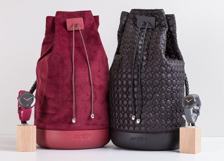J-BACKY è un connubio tra borsa e zaino. La base è realizzata in gomma eva con effetto saffiano e la sacca è in morbido canvas.