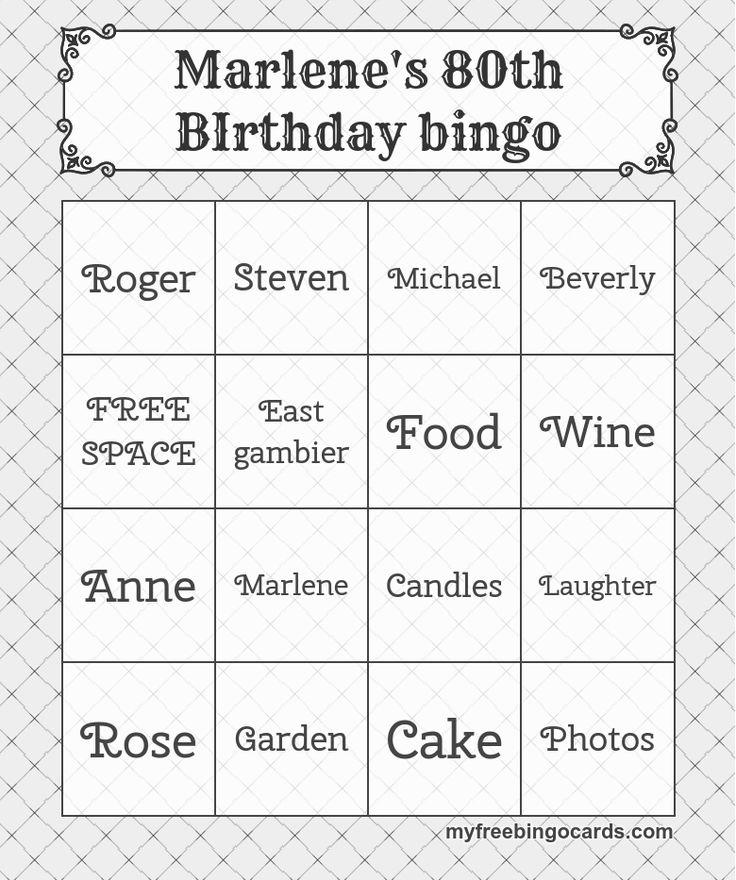 Marlene's 80th BIrthday bingo