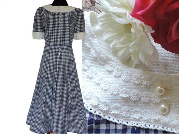 80s Gingham Midi Dress