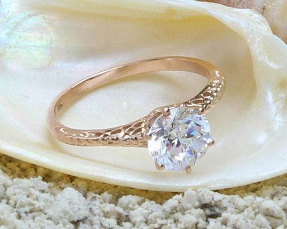 Wedding Ring 14k Solid Rose Gold White by SvensJewelryandMore