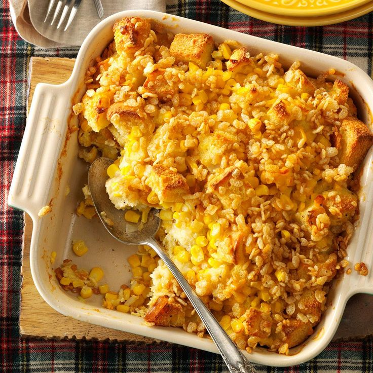 Scalloped Sweet Corn Casserole Recipe -This is my Grandma Ostendorf's corn recipe I grew up enjoying. Now a grandmother myself, I still serve this comfy, delicious side as a family classic. —Lonnie Hartstack, Clarinda, Iowa