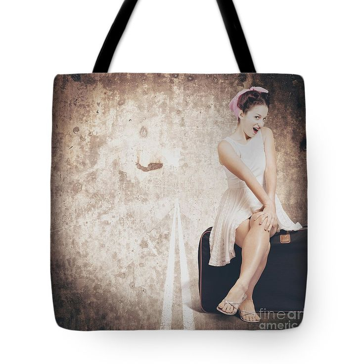 Roadtrip Tote Bag featuring the photograph Young Hitchhiking Pin-up Woman On Vintage Suitcase by Jorgo Photography - Wall Art Gallery