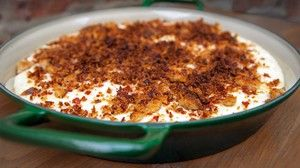 White Grits and Cheddar Pudding with Bacon Bread Crumbs by Paul Kahan
