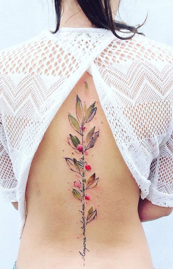 This gentle airbrush style tattoo shows a quote as the stem of a small but budding tree. It can relay to you growing to words that you have really believed in.