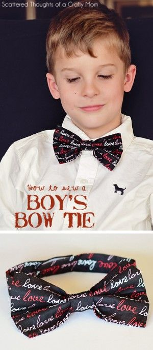 Super Easy Boy's Bow Tie Tutorial. You can easily make 2 sizes, either with a machine or sewing by hand!
