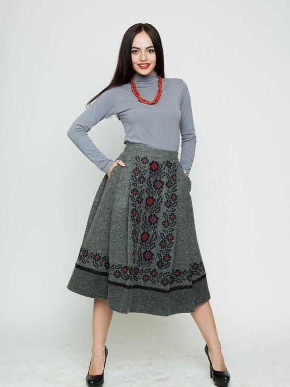 Embroidered grey wool skirt Originality by Handembroiderykvitka