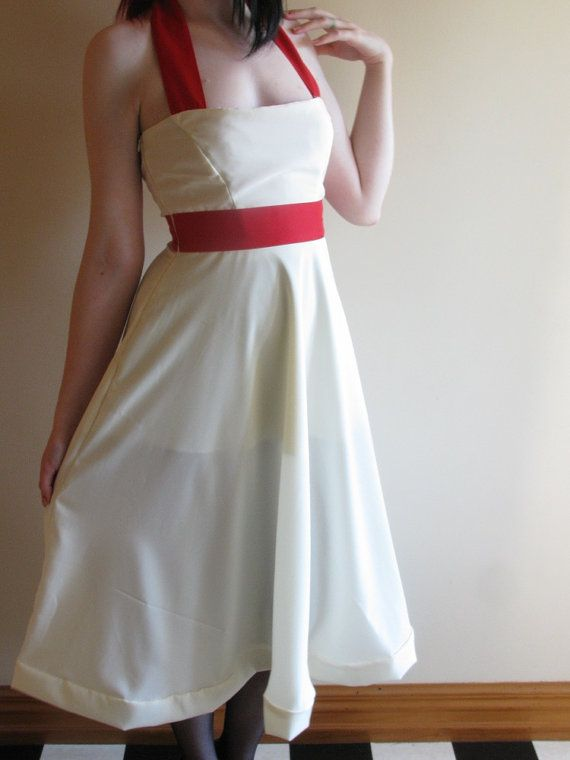Cream & Red Halterneck Formal Dress Extra Small by XamiaArc, $120.00