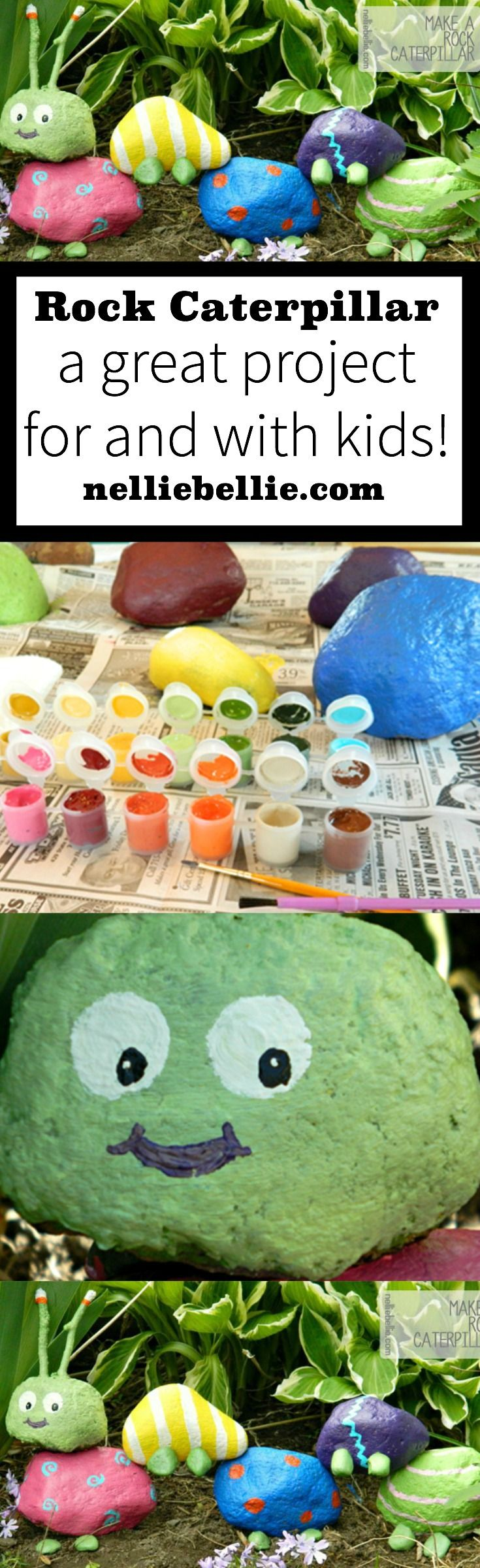 A fun garden craft with kids! Use rocks and paint to create a caterpillar!