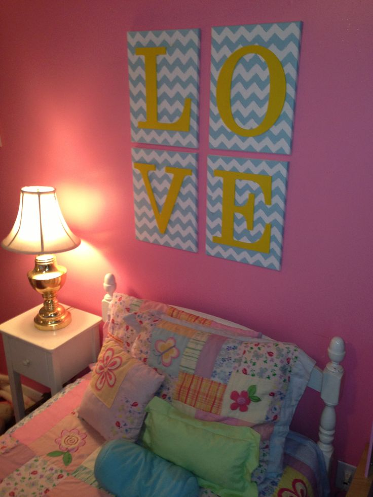 Our little girls bedroom artwork. DIY, pink, blue, yellow, chevron, love