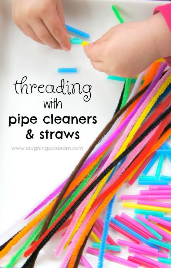 Easy threading exercise utilizing minimize straws and pipe cleaners