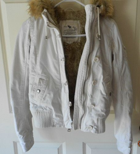 Abercrombie and Fitch Girls Size Small Faux Fur Lined Hoodie Winter Coat Jacket