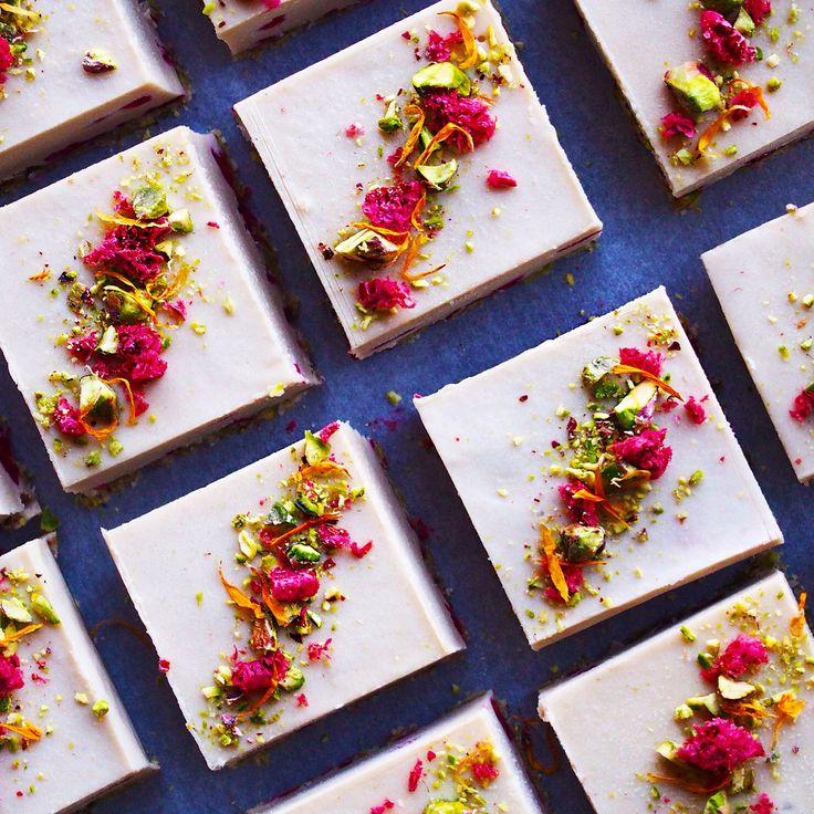 Raw Vegan White Choc Raspberry and Pistachio Cheezecakes via Blendlove