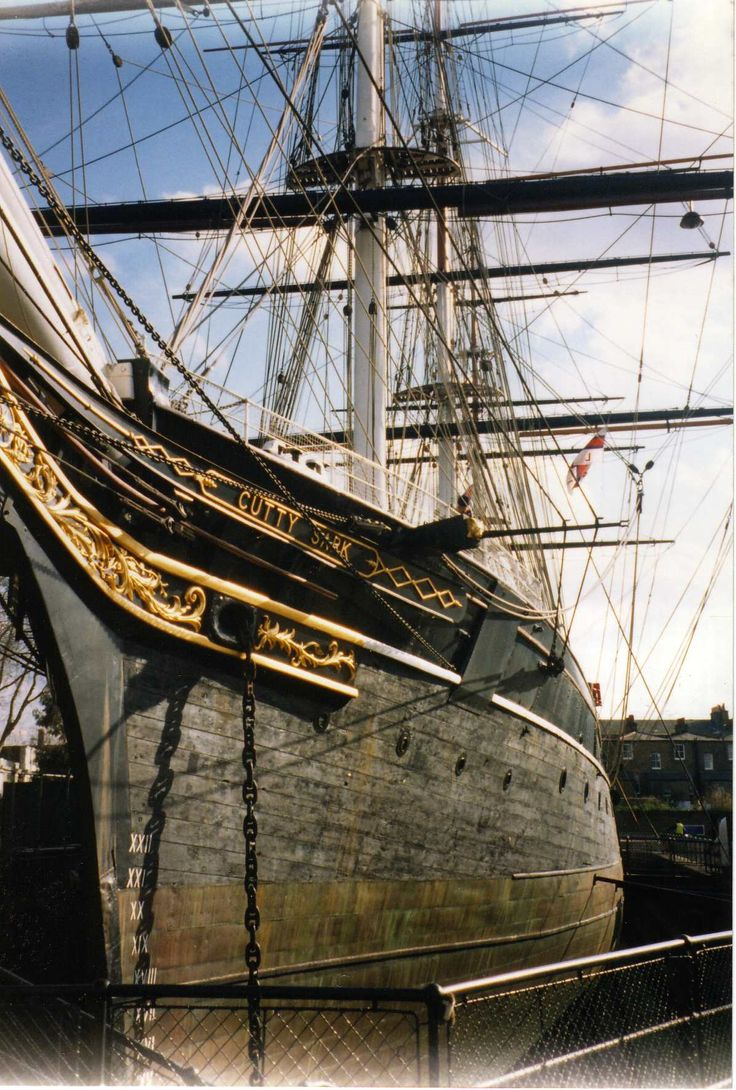 The Cutty Sark, Greenwich, London. On the afternoon of Monday 22 November 1869, a beautiful little clipper ship of 963 tons gross was launched at Dumbarton on the River Leven, Scotland. On that day, she was given a name that was to become renowned throughout the seafaring world. The Cutty Sark.