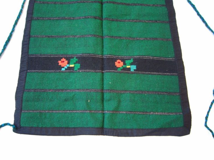 Antique Apron Hand Woven and Embroidered Green Striped Floral Ornaments Balkan #Handmade