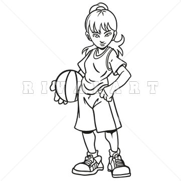 Sports Clipart Image of Black White Girls Youth Basketball