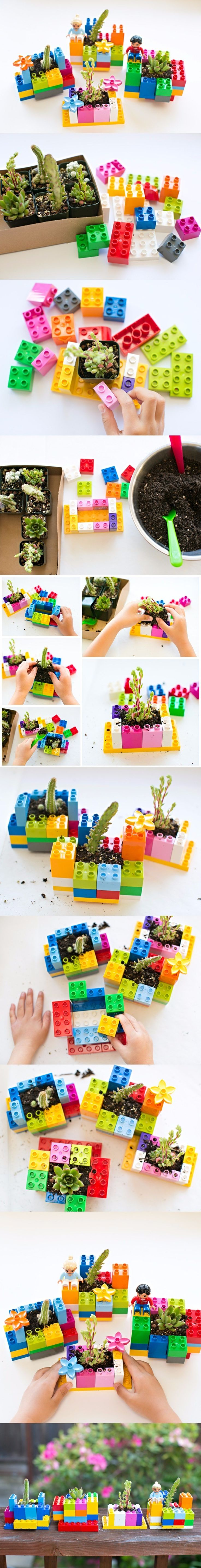 Macetas hechas con lego / http://www.hellowonderful.co/