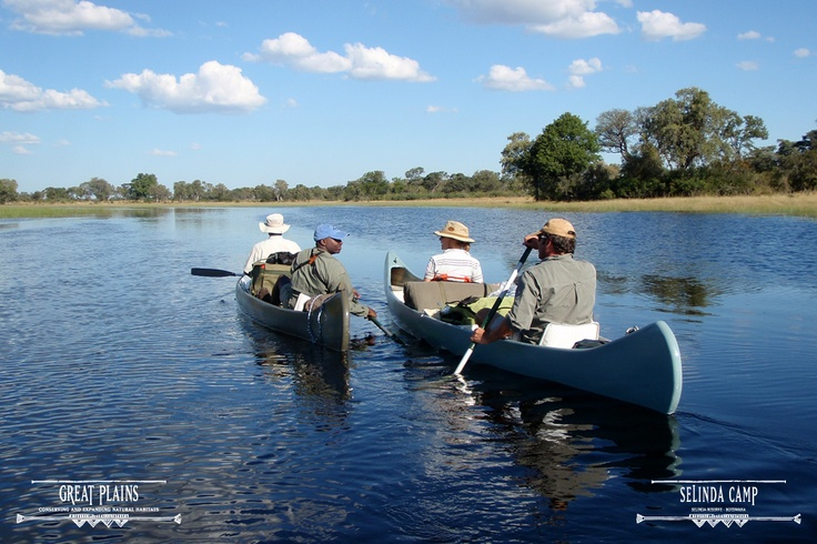 Rowing along the trail in the sun   Selinda Canoe Trail