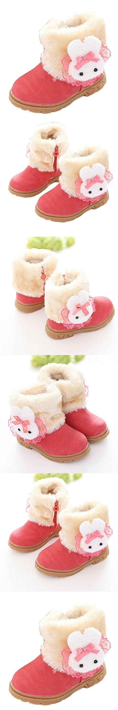 GBSELL Cute Baby Toddler Girl Winter Warm Rabbit Boot Outdoor Snow Boots Shoes (Red, 2-3 Year)
