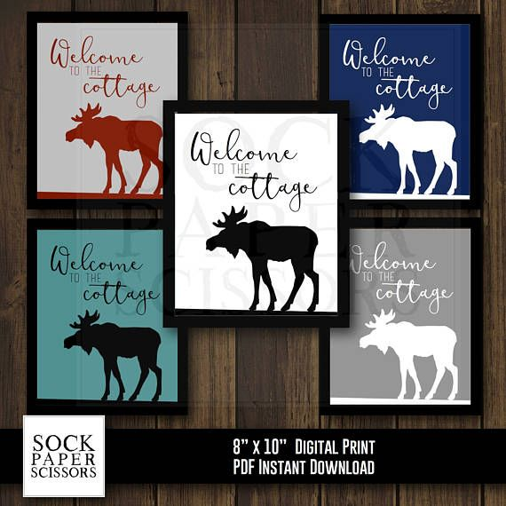 Printable Typography Art Print  Moose Silhouette  Welcome to