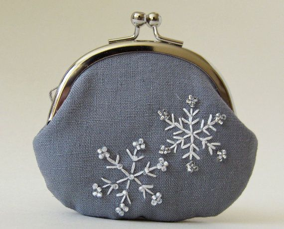 Coin purse  snowflakes on gray linen by oktak on Etsy, $42.00